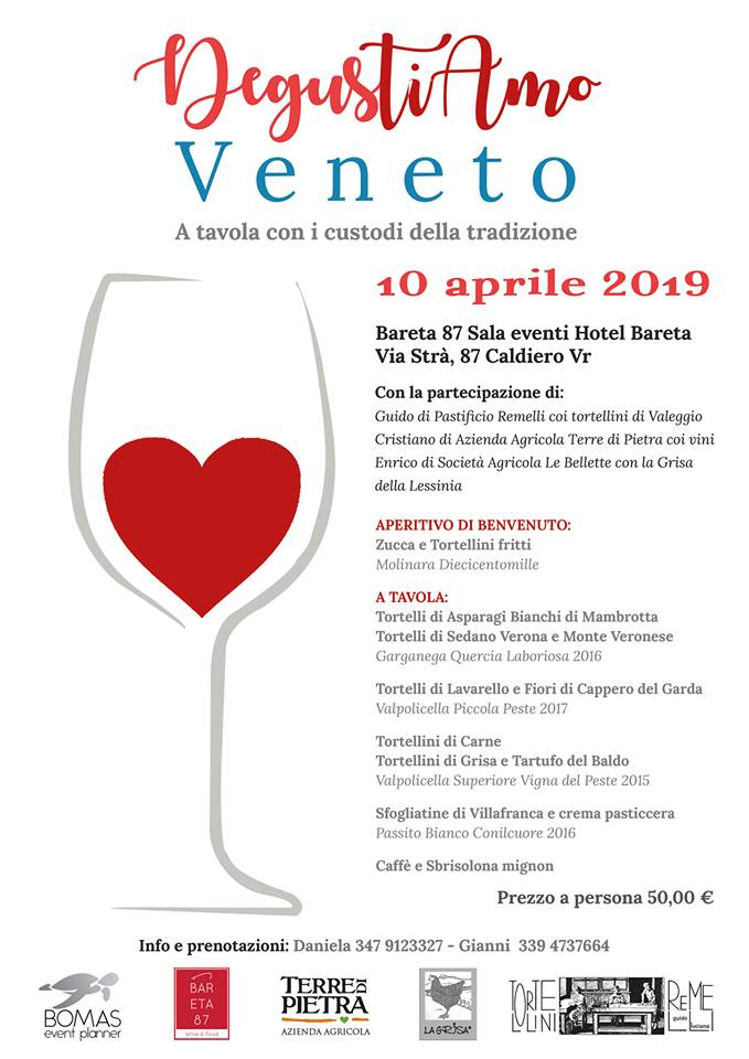Locandina per evento DegusTIAMO Veneto che si svolgerà presso l'Hotel Bareta di Caldiero il 10 aprile