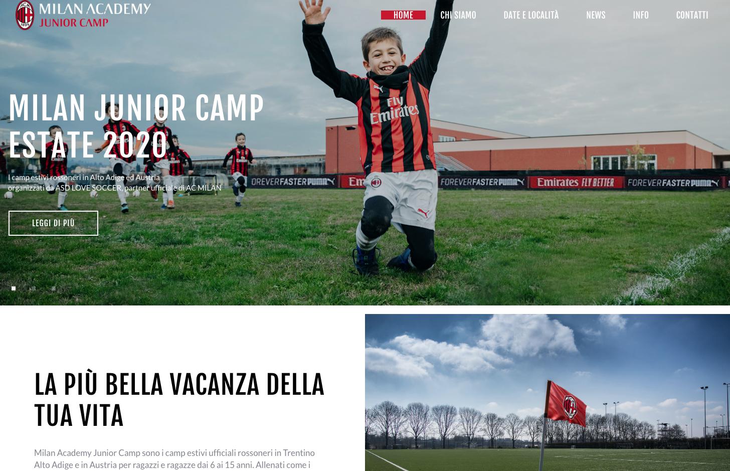 LOVE SOCCER: camp estivi per Milan Academy Junior Camp in Alto Adige